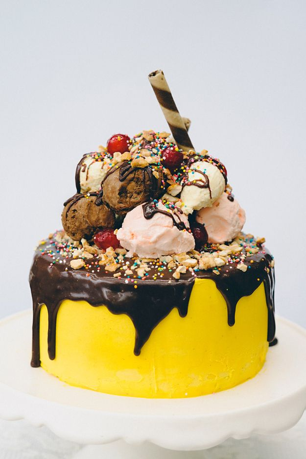Does your birthday person love banana splits? Go ahead, put one on top of a cake!