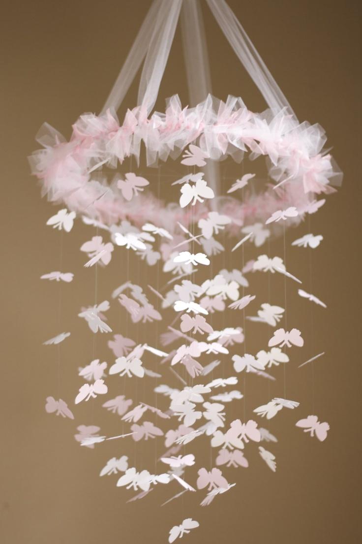 Sweet Pink Butterfly Chandelier KIT – DIY – Großes Bastelprojekt, Baby Shower Aktivität