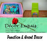 Décor Exquis - Johannesburg South, are manufacturers and suppliers of all function and event décor, i.e. chair covers, table cloths and any decor linen. Items are custom made to suit your specific needs. Our services also include: Flowers; Cupcakes; Party Packs; Gifting; Catering etc.