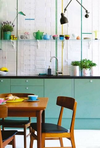 isabelle mcallister, kitchen, green kitchen, collage tiles, 50's style kitchen, concrete top