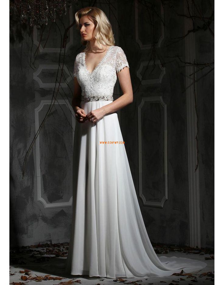 Délka dvorní Výstřih do V Elegantní & moderní Levné svatební šaty