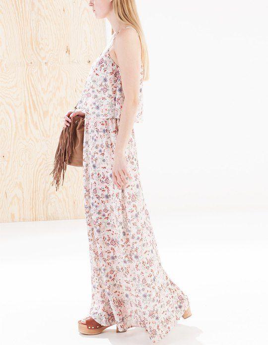 Vestido largo print flores - ROPA - Stradivarius España