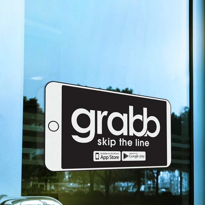 Create a captivating restaurant window sticker for Grabb by harles .