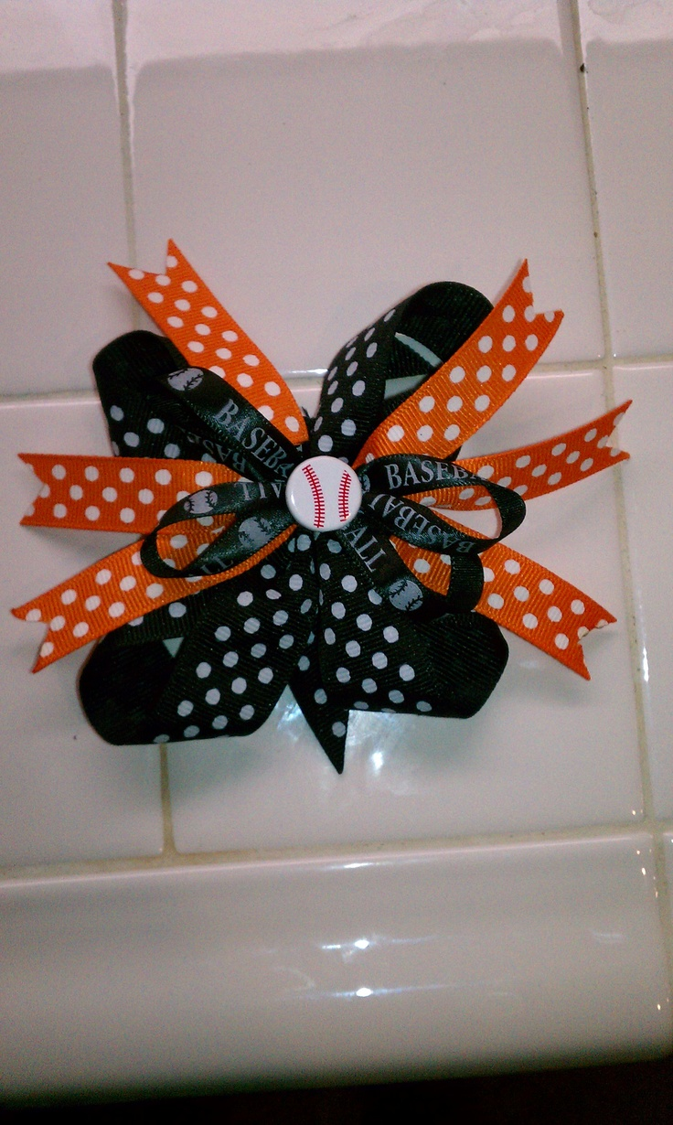 Bow I made for Kylie for Little League...go Orioles!