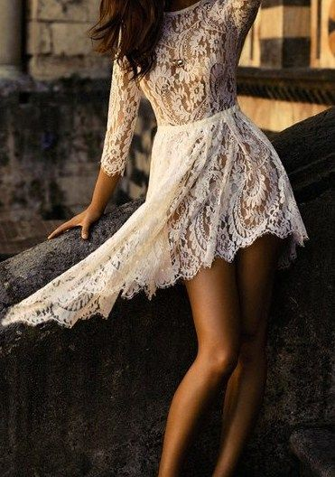Sleeved lace dress