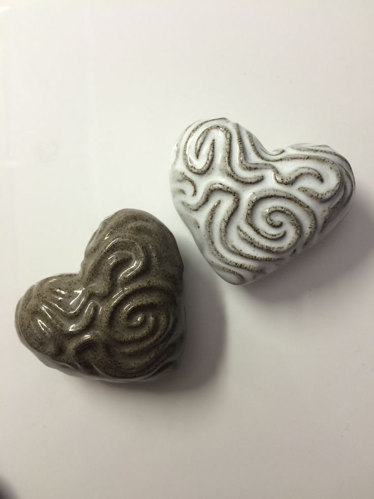 Hearts made by love in ceramic