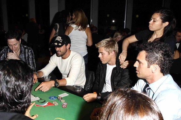 """Maksim Chmerkovskiy Photos: Derek Hough enjoys a neck massage during a charity poker tournament with his fellow """"DWTS"""" dancers"""
