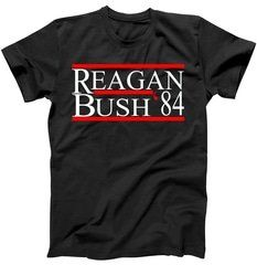 Reagan Bush 84 Retro USA Election T-Shirt Shop Reagan Bush 84 Retro USA Election T-Shirt custom made just for you. Available on many styles, sizes, and colors.