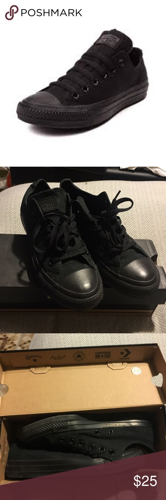 Black low top converse sneakers Worn total of 3 times, in great condition! Comes with box Converse Shoes Sneakers