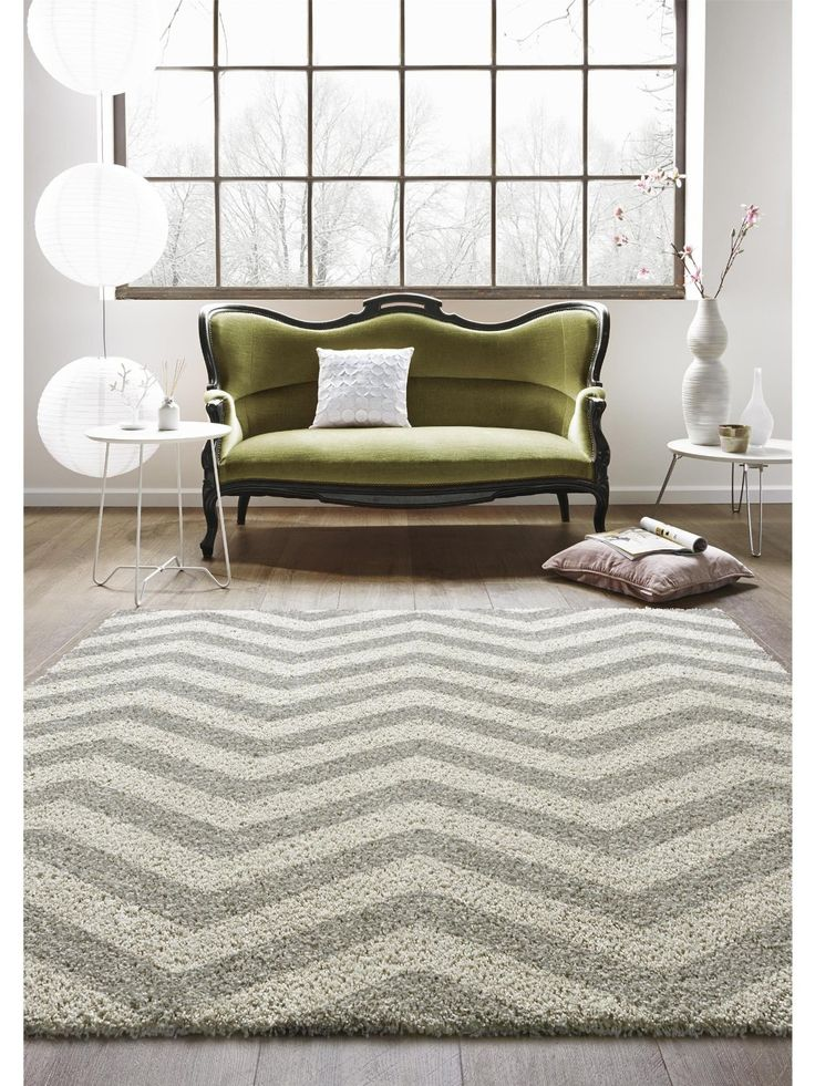 Amazon.de: benuta Teppiche: Moderner Designer Hochflor Teppich Graphic Zick Zack Grau 160x230 cm