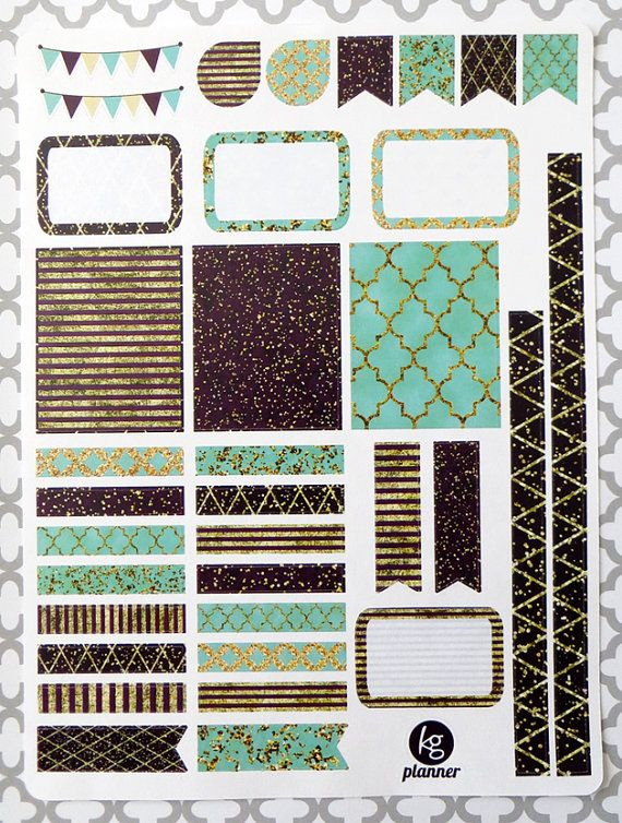 Teal Glitz Decorating Kit / Weekly Spread Planner por PlannerPenny