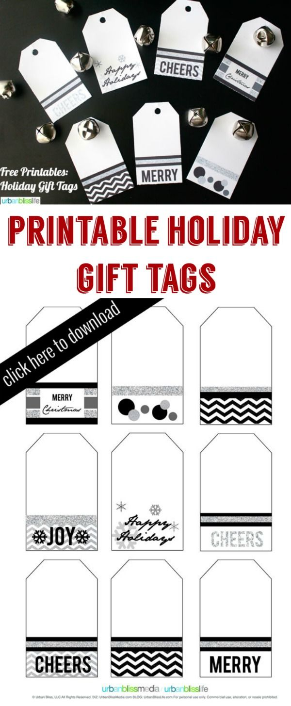 Printable Holiday Gift Tags | Find free Christmas Gift tags that you can print yourself. Get that minimalist look with simple black and white! See more on TodaysCreativeLife.com