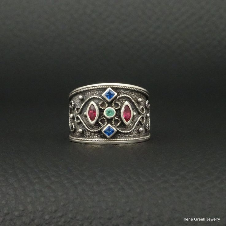 RUBY SAPPHIRE EMERALD BYZANTINE STYLE 925 STERLING SILVER GREEK HANDMADE RING #IreneGreekJewelry #Band