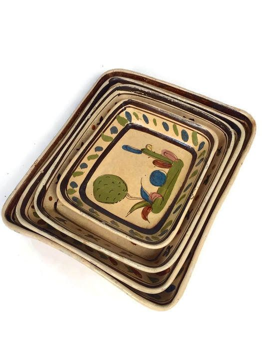 Mid Century Mexican Pottery Trays Platters Bohemian Chic Wall Art Meets Rustic Southwestern Snack Appetizer Servers Nesting Pottery Set of 4