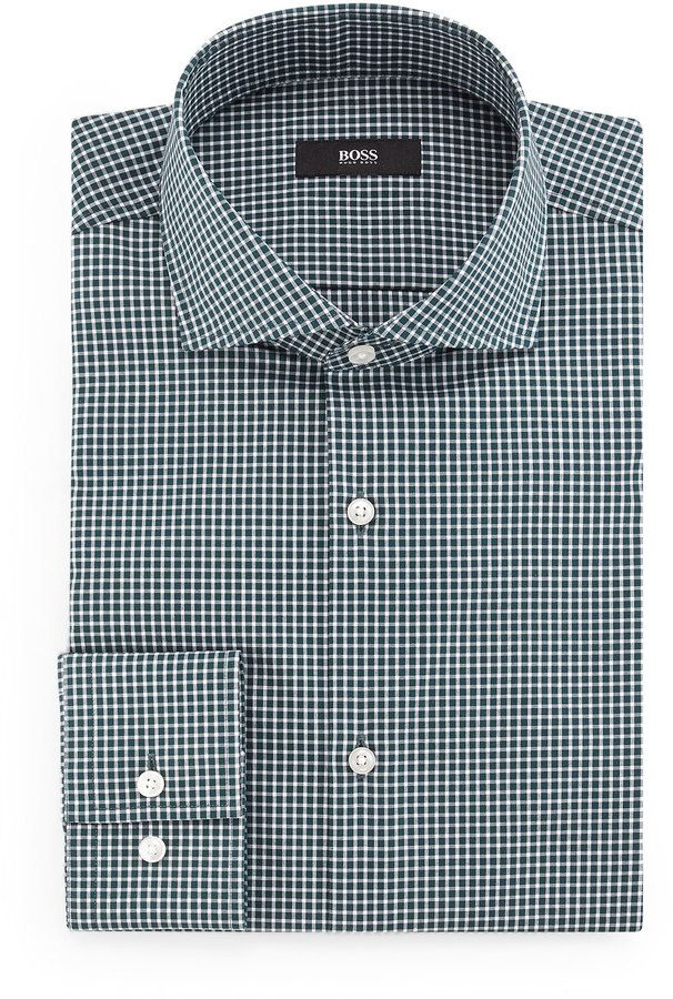 Boss Hugo Boss Jason Slim-Fit Mini-Gingham Dress Shirt, Green