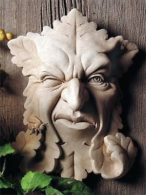 Garden Plaques and Signs 75592: Grumpy Face Leaf Wall Plaque Cast Cement 10.5 Outdoor Garden -> BUY IT NOW ONLY: $49.95 on eBay!