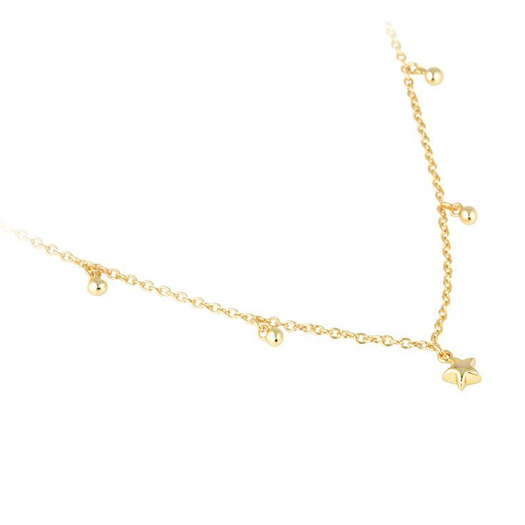 Star Necklace. A tiny sparkly star and beads provide delicate hints of detail on a fine gold chain. Perfect for layering and for those who treasure modern lux. Finely crafted in sterling silver with 14k gold plating. Click to shop on website.