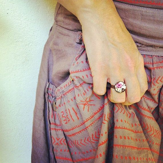 Pink Rose Ring Pink Flower Ring Floral Button by EfZinCreations