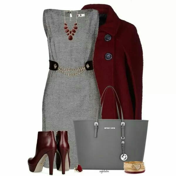Nice wofk outfit - grey and winered