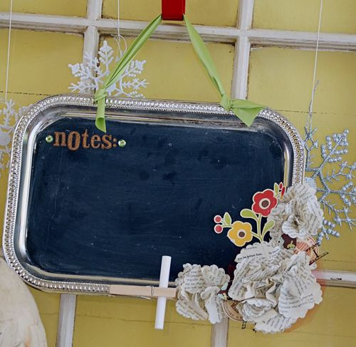 OK, one more Pippi Party Craft - we made these chalkboards out of cookie sheets from the dollar store, which I spraypainted the entire sheet with the CB paint.  The girls used letter stickers, and felt flower/work stickers to decorate, with a matching ribbon already attached for hanging and then a set of chalk.  Girls LOVED it!