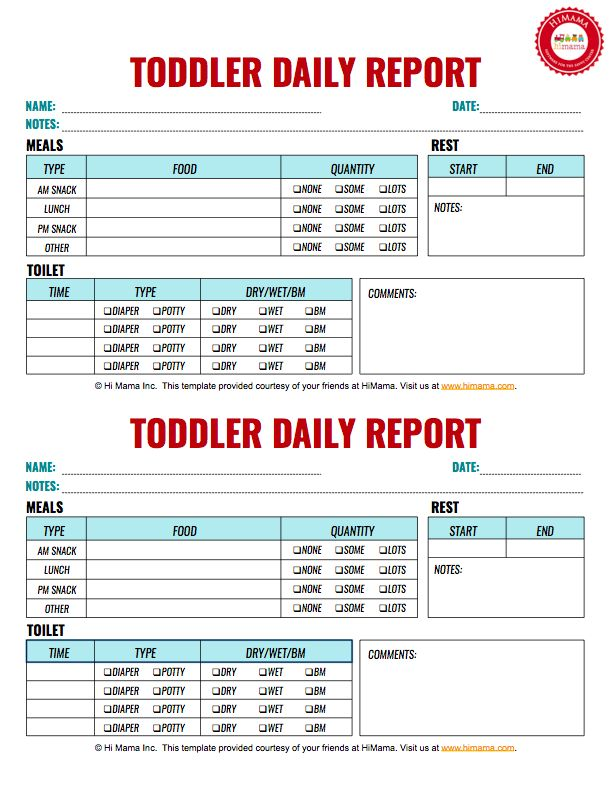 Toddler Daily Report, 2 per page