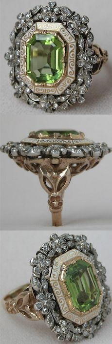 *Antique Gold Victorian Rose Cut Diamond and Peridot Cocktail Ring. #PeridotCocktailRing