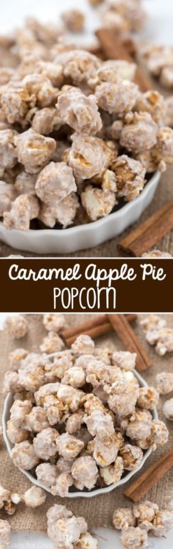 Caramel Apple Pie Popcorn - this easy recipe takes only 15 minutes to make! Perfect for parties or gift giving!