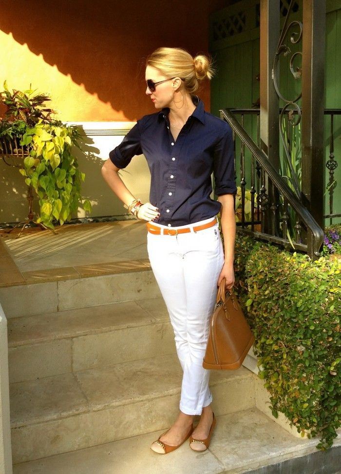 White denim brown belt navy button down transport tote for White shirt brown buttons