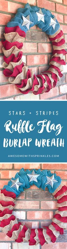 Stars + Stripes DIY Pottery Barn Copycat Flag Ruffle Wreath for Fourth of July!   Awesome with Sprinkles