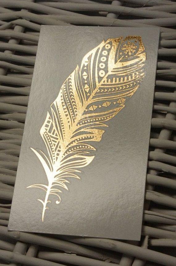 Golden Feather - Metallic Temporary Tattoo