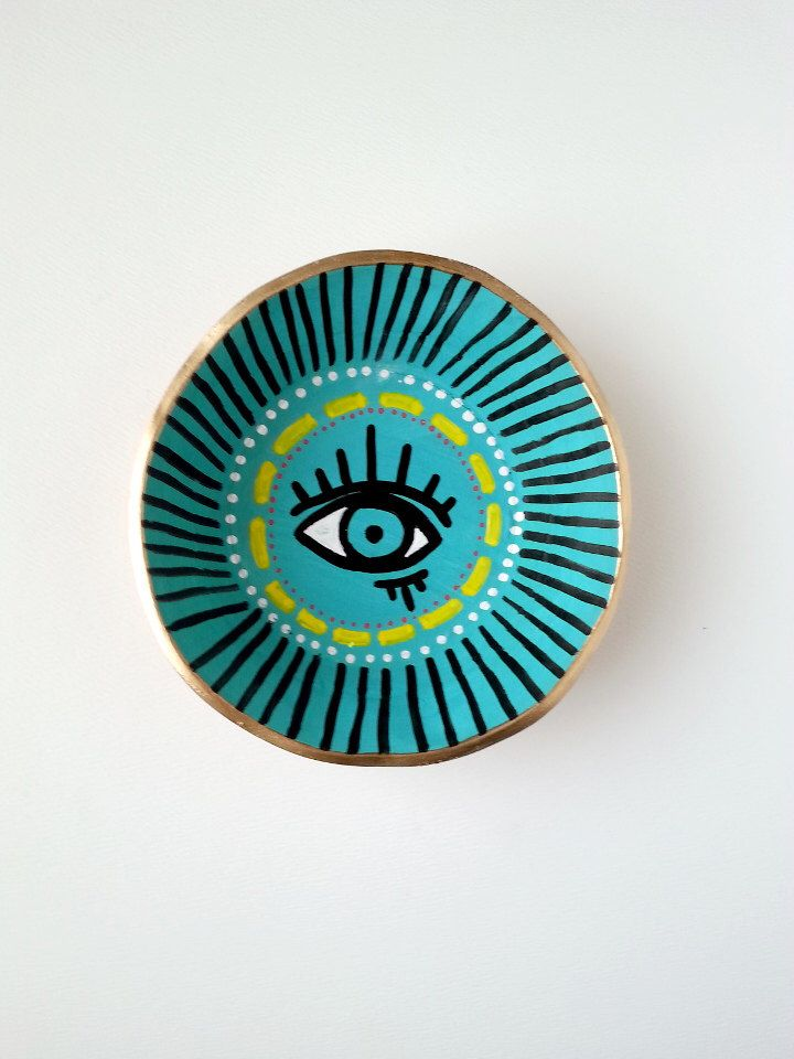 Evil Eye Hand Painted Jewelry Holder-Made to Order- Ring Holder- Engagement Ring Dish-Jewelry Dish- Home Decor Handmade Clay Ring Holder by McDonaldMixedMedia on Etsy https://www.etsy.com/listing/229004888/evil-eye-hand-painted-jewelry-holder