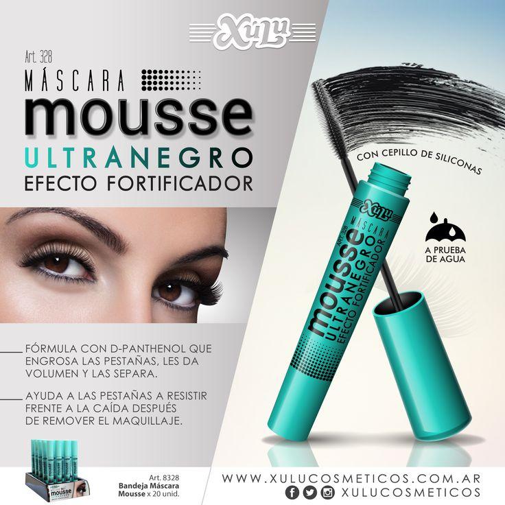 Nueva Máscara Mousse efecto fortificador: ultranegra, engrosa, da volumen y separa las pestañas. Además es a prueba de agua.