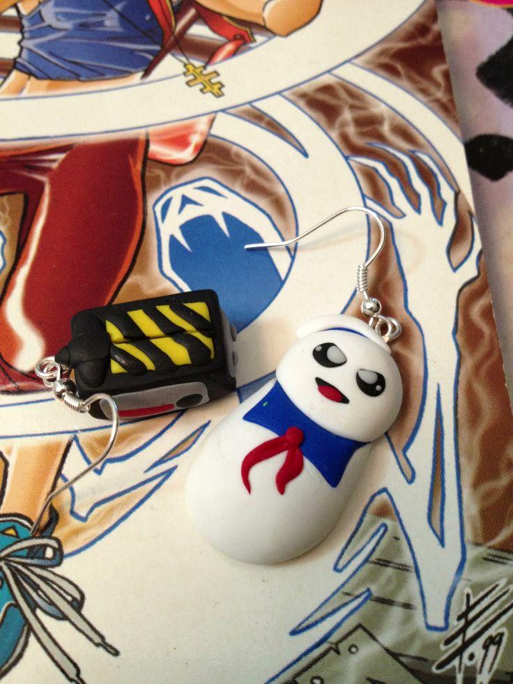 Ghostbusters fimo earrings handmade!