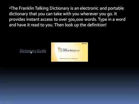 Franklin Talking Dictionary - Basics - YouTube