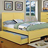 Prismo Transitional Style Yellow Finish Full Size Bed Frame Set w/ Trundle deals week