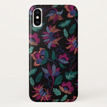 Floral embroidery iPhone x case -nature diy customize sprecial design