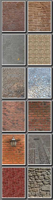 brick, stone, gravel, mosaic, paving, terrazzo, cobblestone and other pavement backgrounds - printable pdf files