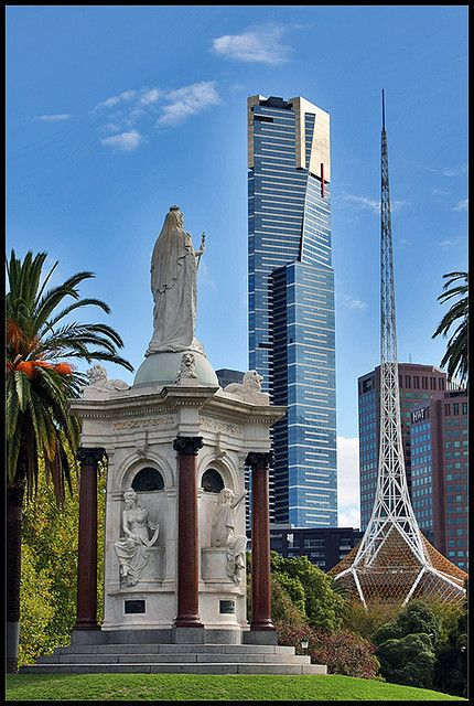 Queen Victoria Gardens - Eureka Tower and the Arts Centre dominating the skyline - Melbourne, Australia