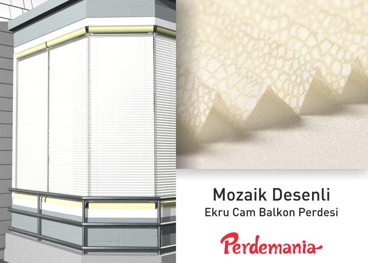 Plicell Markalı Cam Balkon ve PVC Perdesi  Mozaik görünümlü seri plise perdeler üzerindeki desenleri ile mozaiklerden oluşan iki renk görünümündedir ve güneş ışığını soft bir şekilde içeriye yayan yapıdadır. Balkonlar için alternatifi olmayan bir perde türü olan plise perdeler katlanır cam balkonlar için özel üretilmiştir ve katlanmış görüntüsü ile balkon camlarınızda görsel bir şölen sunarken, alev almaz ve kir tutmaz kumaş özelliği ile büyük kolaylıklar sağlar.