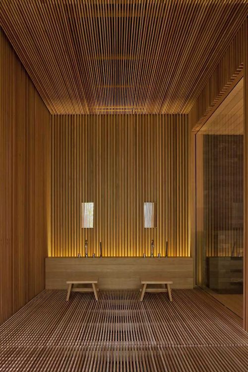 Wooden slats and great lighting