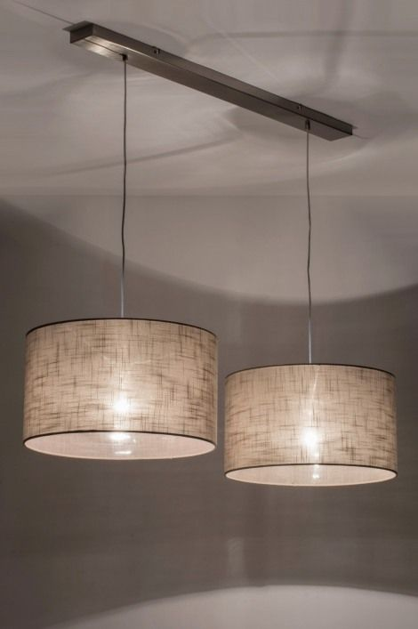 Hanglamp 30625 modern taupe stof rond langwerpig