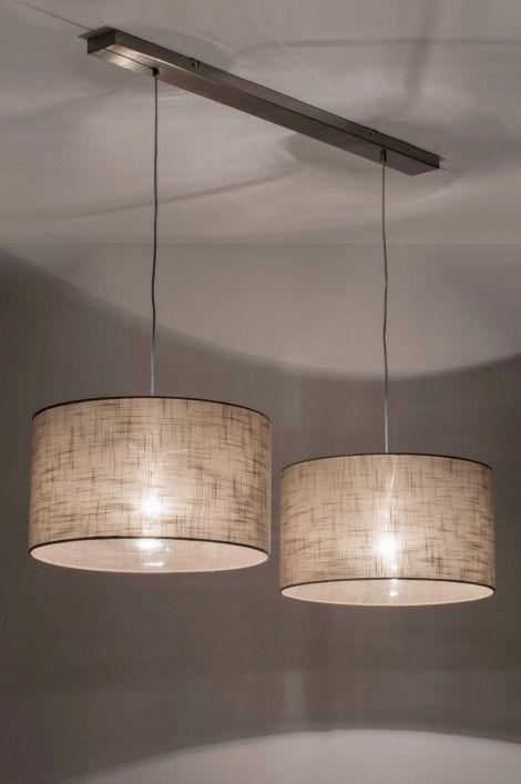 Hanglamp 30625 modern taupe stof rond langwerpig
