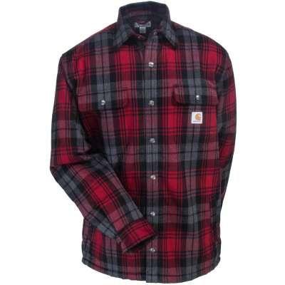 Carhartt Jackets: Men's 101752 608 Dark Crimson Red Sherpa-Lined Cotton Flannel…
