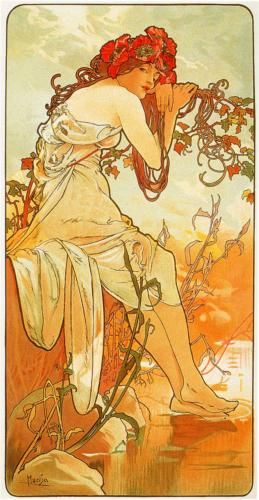 Artist: Alphonse Mucha  Completion Date: 1896  Style: Art Nouveau (Modern)  Series: The seasons  Genre: allegorical painting  Technique: oil  Gallery: Private Collection