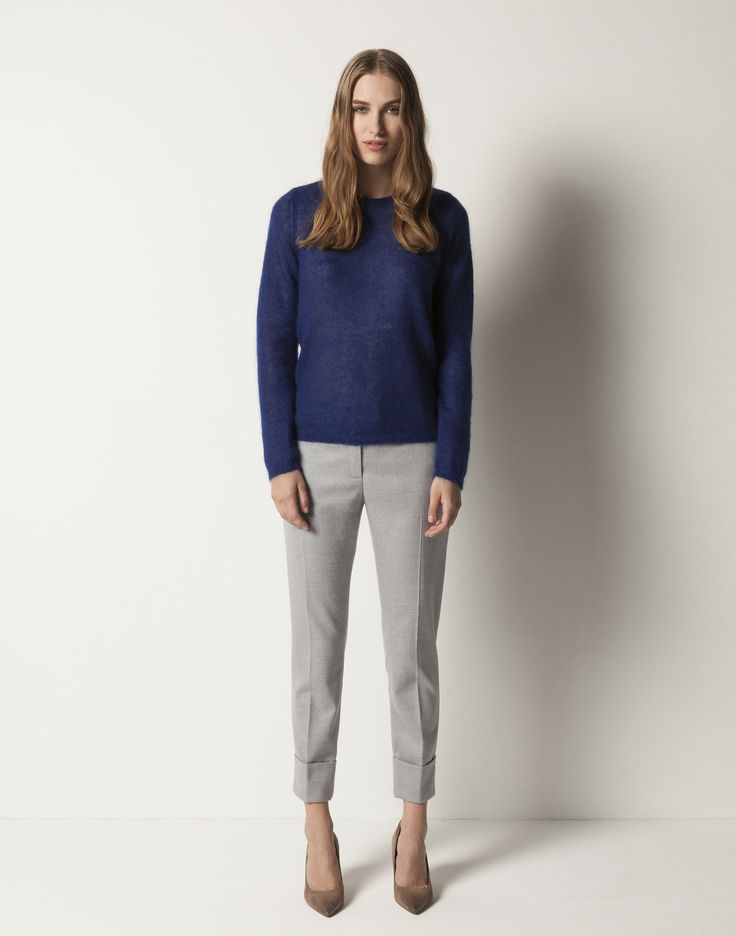 Mohair Sweater - Electric Blue, Slim Cuffed Pant - Grey Melange