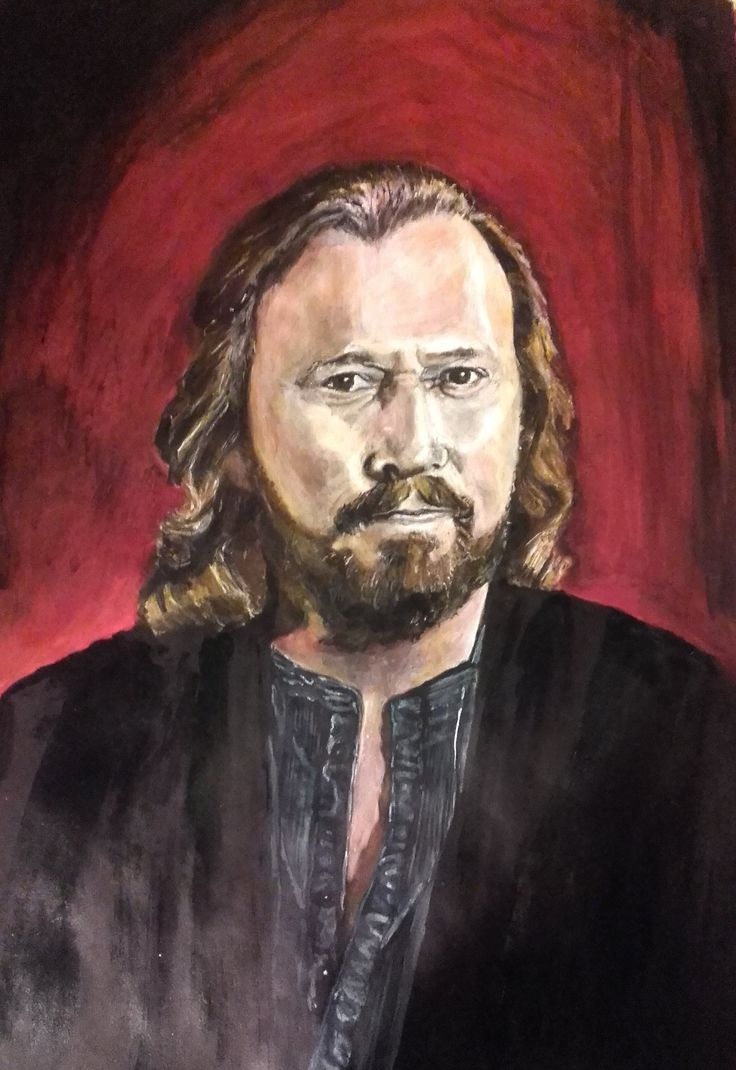 "Barry Gibb  ""The Man with the Mona Lisa smile."" Acrylics on paper 2016"