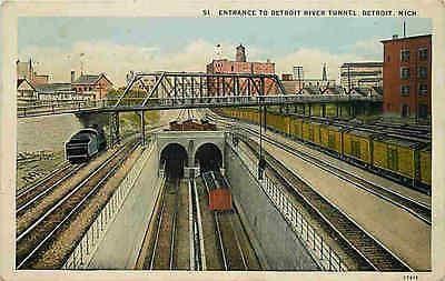 Detroit Michigan MI 1912 Michigan Central Railroad Detroit River Tunnel Postcard Detroit Michigan MI Circa 1912 Michigan Central Railroad's one and 3/8ths mile Detroit River Tunnel which was completed