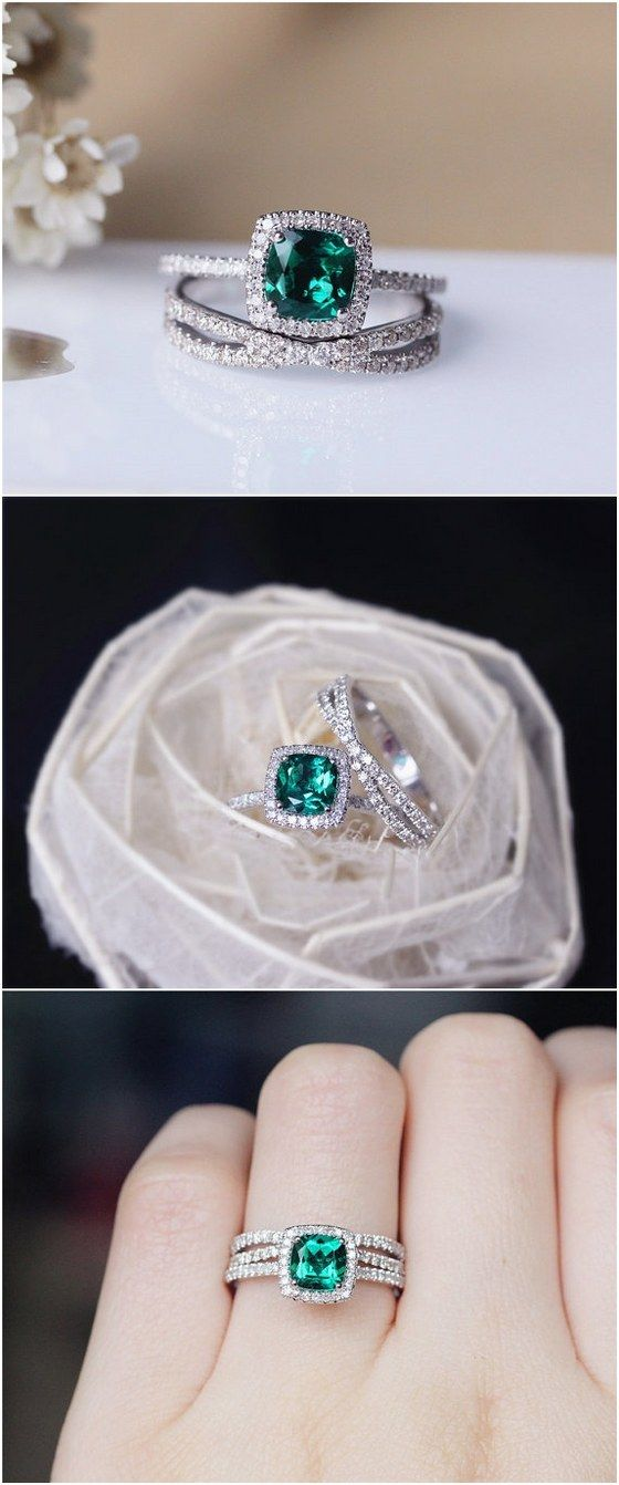 6mm Cushion Emerald Ring Set Solid 14K White Gold Wedding Ring Emerald Engagement Ring Set / http://www.deerpearlflowers.com/engagement-rings-from-etsy/