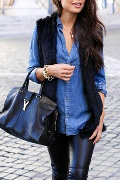 Great outfit with denim shirt, elegant and feminine style