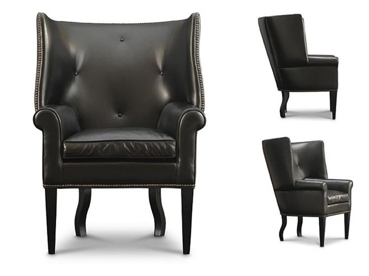 Leather Wing Chair With Nail Head Detailing By Leathercraft Furniture++